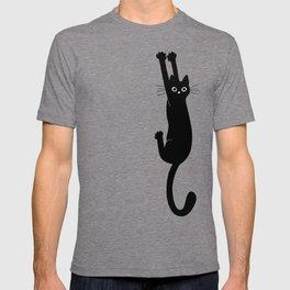 Black Cat Hanging On   Funny Cat T-shirt