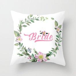 Dog rose wreath bride modern tTypography Throw Pillow