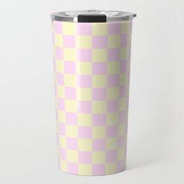 Cream Yellow and Pink Lace Checkerboard Travel Mug