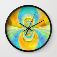 happiness Wall Clocks featuring Happiness by lillianhibiscus