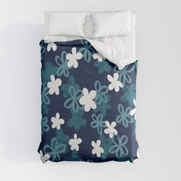 Teal and Blue Textured Floral pattern  Comforters