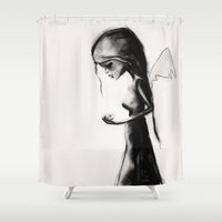 angel Shower Curtains featuring Angel by SannArt
