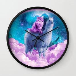 Rainbow Llama - Cat Llama Wall Clock