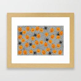 Hallween pumpkins spider pattern Framed Art Print