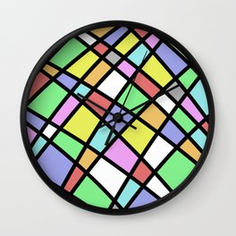Crazy Pastel Paving - Abstract, pastel coloured mosaic paved pattern Wall Clock