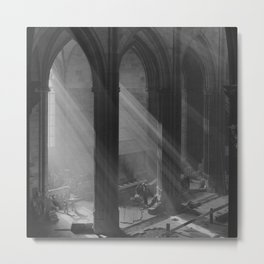Rays of Light through Cathedral Windows black and white photograph Metal Print