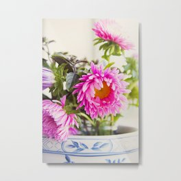 HAPPY MORNING FLOWERS Metal Print