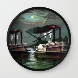 Race Of The Steamers Robert E. Lee and Natchez Wall Clock