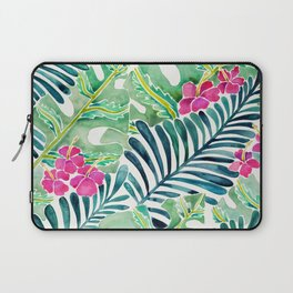 Lush Tropical Fronds & Hibiscus Laptop Sleeve