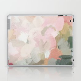 Forest Green Fuchsia Blush Pink Abstract Flower Spring Painting Art Laptop & iPad Skin