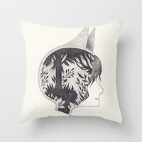 into the wild Throw Pillows featuring wild by yohan sacre