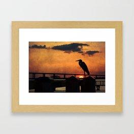 Heron Silhouette Framed Art Print