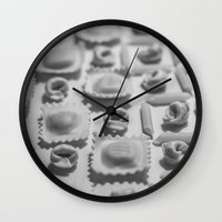 pasta Wall Clocks featuring Pasta by Isabel Martinez Isabel