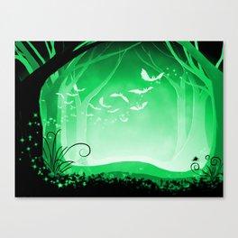 Dark Forest at Dawn in Emerald Canvas Print