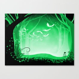 Dark Forest at Dawn in Emerald Canvas Print