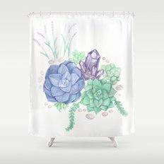 Botanical Succulents Shower Curtain