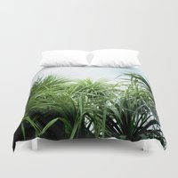 palms Duvet Covers featuring palms by Rick Onorato