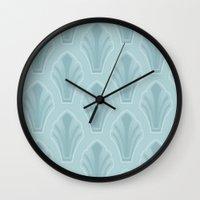 mid century modern Wall Clocks featuring Mid-Century Modern Shell by Pat Giancontieri -Artzlady-