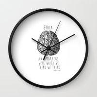 brain Wall Clocks featuring Brain by T-SIR   Oscar Postigo