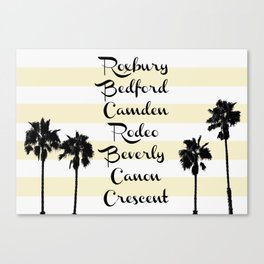 Beverly Hills Street Names Palm Trees Yellow Stripes Canvas Print