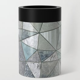 Teal And Grey Triangles Stained Glass Style Can Cooler