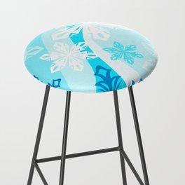 Blue Flower Art Winter Holiday Bar Stool