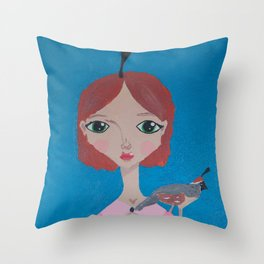 ~ Quail ~ 10 Year Old Amelia's Arizona Critter Girl Throw Pillow