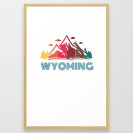 Retro Distressed Wyoming Design for Men Women and Kids Framed Art Print