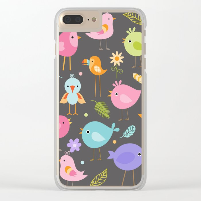 Birds - Gray Clear iPhone Case