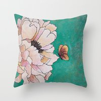 poem Throw Pillows featuring butterfly poem by Erika