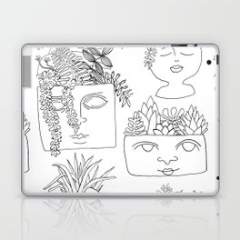 Illustrated Plant Faces in White Laptop & iPad Skin