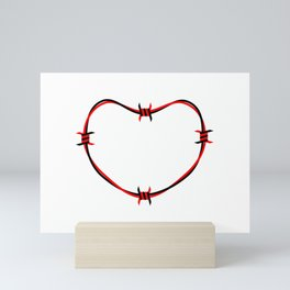 Black and Red Barb Wire Heart Mini Art Print