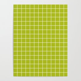 Acid Green - Green Color - White Lines Grid Pattern Poster