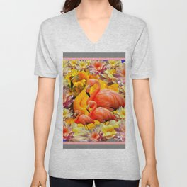 YELLOW & PINK WATER LILIES & SAFFRON FLAMINGOS  ABSTRACT Unisex V-Neck