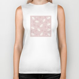 Palms pattern pale-pink white pink light-grey autumn fall tropical , society6 Biker Tank