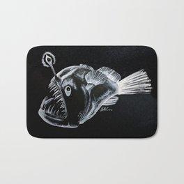 Sinister Anglerfish White on Black Bath Mat