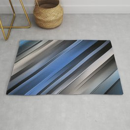 Abstract Blue Stripes Rug