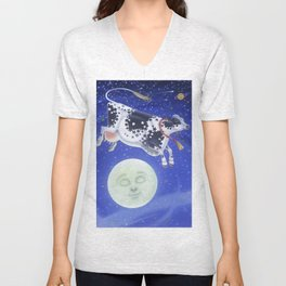 Cow Jumped Over the Moon Unisex V-Neck