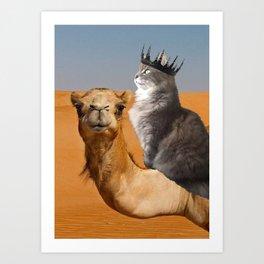 Cat Riding Camel Art Print