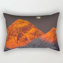 Fascinating Spectacular Full Moon At Romantic Sunset Above Mountain Ridge Annapurna Nepal Asia Rectangular Pillow
