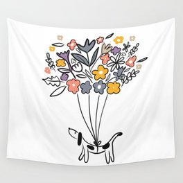 Spring time Sausage Dog Wall Tapestry