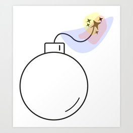 Bomb with burning fuse - Vector Art Print