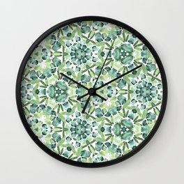 Green petal kaleidoscope  Wall Clock