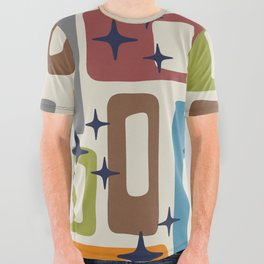 Retro Mid Century Modern Abstract Pattern 224 All Over Graphic Tee