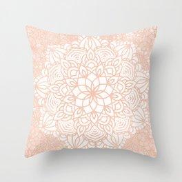 Seashell Mandala Coral Pink and White by Nature Magick Throw Pillow
