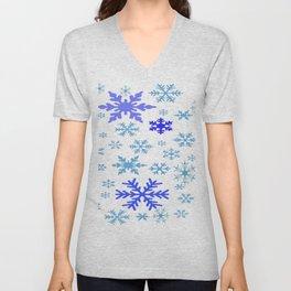BLUE & PURPLE WINTER SNOWFLAKES  DESIGN Unisex V-Neck