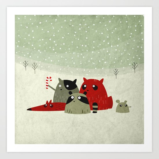 Guilty dudes in the snow Art Print
