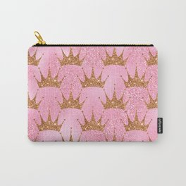 Princess Glitter Gold Crowns on Lollipop Pink Carry-All Pouch