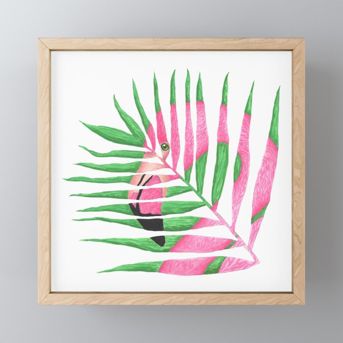Pink Flamingo Palm Leaf Framed Mini Art Print