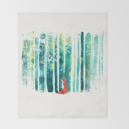 Fox in quiet forest Throw Blanket